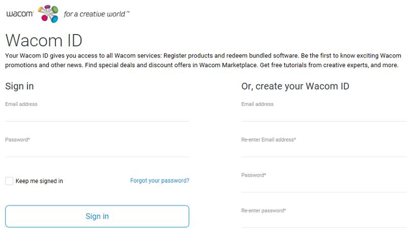 Wacom IDのサインインページが表示される