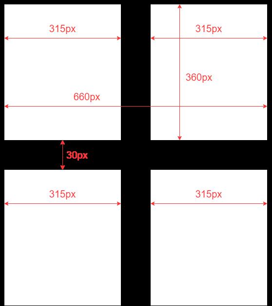 記事ボックスのサイズと配置